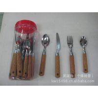厂家直销 不锈钢餐具KW-E13桶装24件套刀叉勺套装不锈钢西餐餐具