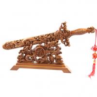 供应双龙赐福桃木剑精雕双龙剑高档精品家居必备精品礼品