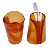 创意二合一加厚防垢情侣洗漱杯 翻转变牙刷架牙杯透明塑料杯A-280