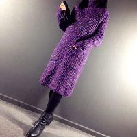 秋冬新品复古高领老佛爷大口袋混杂色线中长款毛衣女针织连衣裙