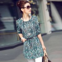 2014 大码女装打底衫 韩版中长款长袖上衣小衫  (送项链)