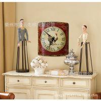 生活饰家美式创意复古罗马数字公鸡款方形铁艺装饰钟表工艺钟