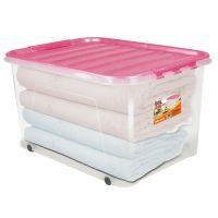 捷扣60L大号防潮储物箱滑轮衣物整理箱收纳箱塑料整理箱透明批发