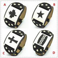 PS016厂家直销韩国欧美枫叶长城纹五星十字架不锈钢皮革手链手环