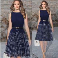 2015年EBAY速卖通热卖欧美无袖波点连衣裙 送腰带