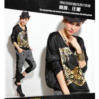 供应2014秋装新款潮韩版宽松大码打底衫欧美风嘻哈蝙蝠衫长袖t恤女装