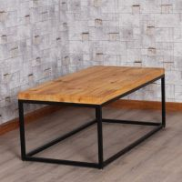 闽安铁艺 美式复古餐桌铁艺实木餐桌咖啡厅餐厅实木桌子实木家具