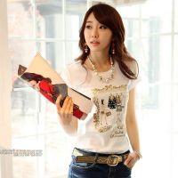 韩版修身圆领女士打底衫纯棉绣花钉珠亮片短袖T恤女装