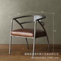 美式乡村铁艺靠背椅子餐厅餐椅奶茶店椅子复古做旧酒吧吧椅可定做
