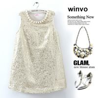供应【Winvo】气质名媛珍珠装饰烫金 连衣裙