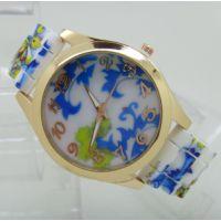 现货日内瓦花朵手表批发日内瓦硅胶手表青花瓷手表批发玫瑰花手表