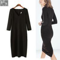 2014秋冬新款  欧美风同款V领后开叉黑色修身长款连衣裙