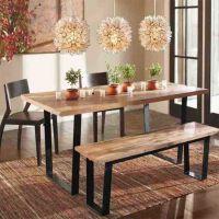 美式乡村铁艺餐桌 休闲咖啡桌椅 仿古实木餐厅桌椅 长方形桌子
