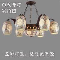 中式古典景德镇陶瓷吊灯客厅饭厅餐厅吊灯酒店茶楼包间吊灯具