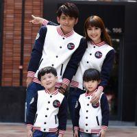 新款亲子装秋冬装韩版亲子装一家三口装棒球服运动休闲卫衣家庭装