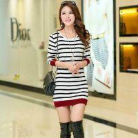秋冬新款韩版女装针织衫毛衣女套头中长款修身显瘦打底衫