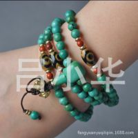 6mm 西藏三眼天珠+绿松石 手链手串 佛珠念珠 108颗