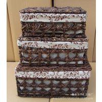 供应山东草编厂家 加工定制收纳筐  带盖编织篮 玉米皮编织 植物工艺