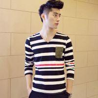 供应2014春装新款条纹男士长袖T恤V领打底衫韩版时尚修身