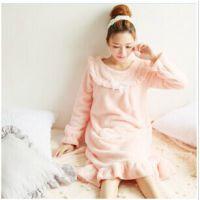 冬装新款韩版孕妇装大码甜美荷叶边长款软绵舒棉绒睡裙家居服睡衣