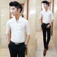 供应2014年夏款新品短袖衬衫 男潮立领韩版修身短袖衬衣
