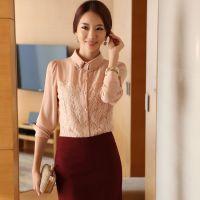 2014秋季新款韩版女装泡泡长袖镶钻翻领修身百搭雪纺打底衫