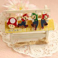 超级玛丽顶蘑菇木夹子相片照片夹票据便签留言夹zakaa杂货