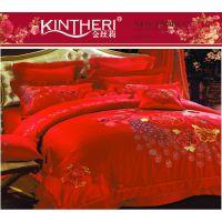 2014秋冬新品 金丝莉 喜庆十件套 全棉贡缎床上用品十件套