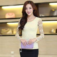 2014秋季新款时尚韩版女装 修身圆领长袖蝴蝶结蕾丝打底衫