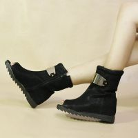 2013春季新款鱼嘴靴 金属片平跟时尚欧美女靴子 绒面低跟骑士短靴