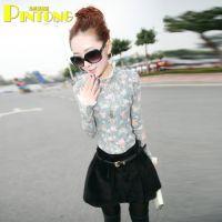 2014秋季新款 韩版修身花朵蕾丝花边圆领设计打底衫