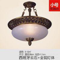 简约欧式圆形全铜云石吊灯 卧室灯餐厅灯 书房走廊灯具灯饰