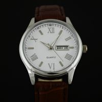 供应厂家生产合金双日历手表 真皮手表 商务促销礼品表