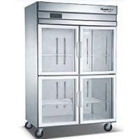 双机双温立式不锈钢玻璃门冷柜 带靠背东莞工作柜—标准常用型