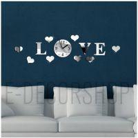 速卖通热卖品 时尚个性挂钟 立体墙面装饰品墙纸贴love壁钟zb005
