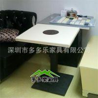 订做石英石方形金属脚火锅店火锅桌椅 火锅店餐饮家具定做