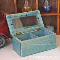 zakka杂货新款  小玻璃盒 两格收纳盒 储物盒 小巧木盒工艺品