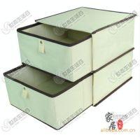 优质无纺布 可折叠 米色 双层双抽收纳箱存储收纳盒
