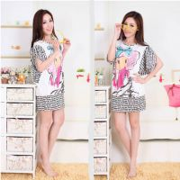 F0133#实拍新款韩版纯棉可爱卡通家居服女夏季短袖拼接时尚女睡裙