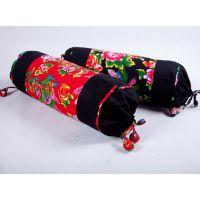 纯棉粗布颈椎枕糖果枕 颈椎牵引枕头保健枕 (含芯)红黑蓝三色