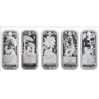 供应马到成功五枚长型纪念章系列 马年贺岁银条 金银条批发定制