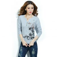 2014秋季新款中国民族风水墨印花V领显瘦长袖大码T恤打底衫