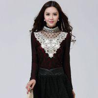 韩国代购秋冬新款2014加绒加厚修身保暖高领镶钻蕾丝打底衫女