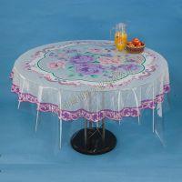 PVC透明水晶印花圆桌布 塑料台布 180专版圆桌台布厂家批发