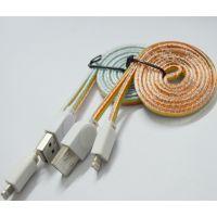 MEZ-S15031 水晶扁线 数据线 MICRO彩虹水晶数据线