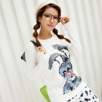 秋韩版卡通印花长袖打底衫太空棉T恤免费加盟一件代发