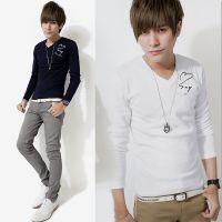 供应2014秋季新款男士长袖T恤韩版修身青少年纯色t恤男打底衫