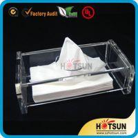 供应两层亚克力纸巾盒 有机玻璃抽纸盒 透明亚克力纸巾盒