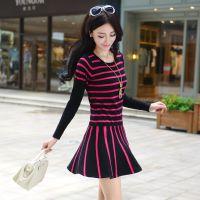 2014秋冬新款针织长袖圆领条纹时尚修身连衣裙 均码针织裙