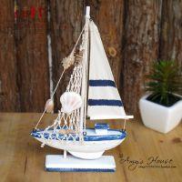 地中海风格 帆布船 桌面摆件 现代简约 家居装饰工艺船